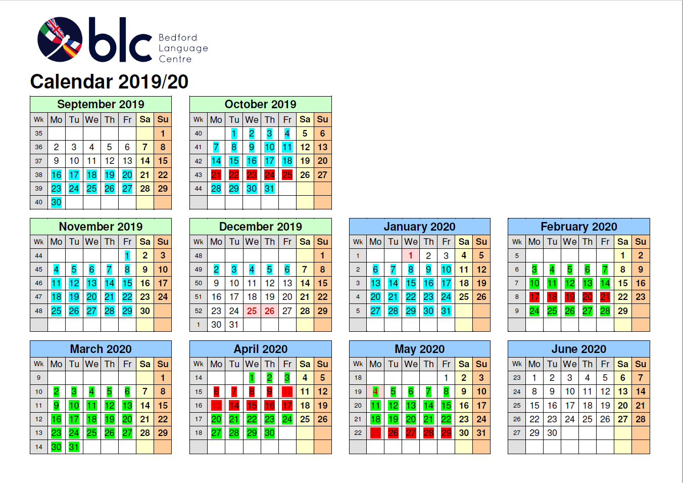 Term Calendar 2019-2020