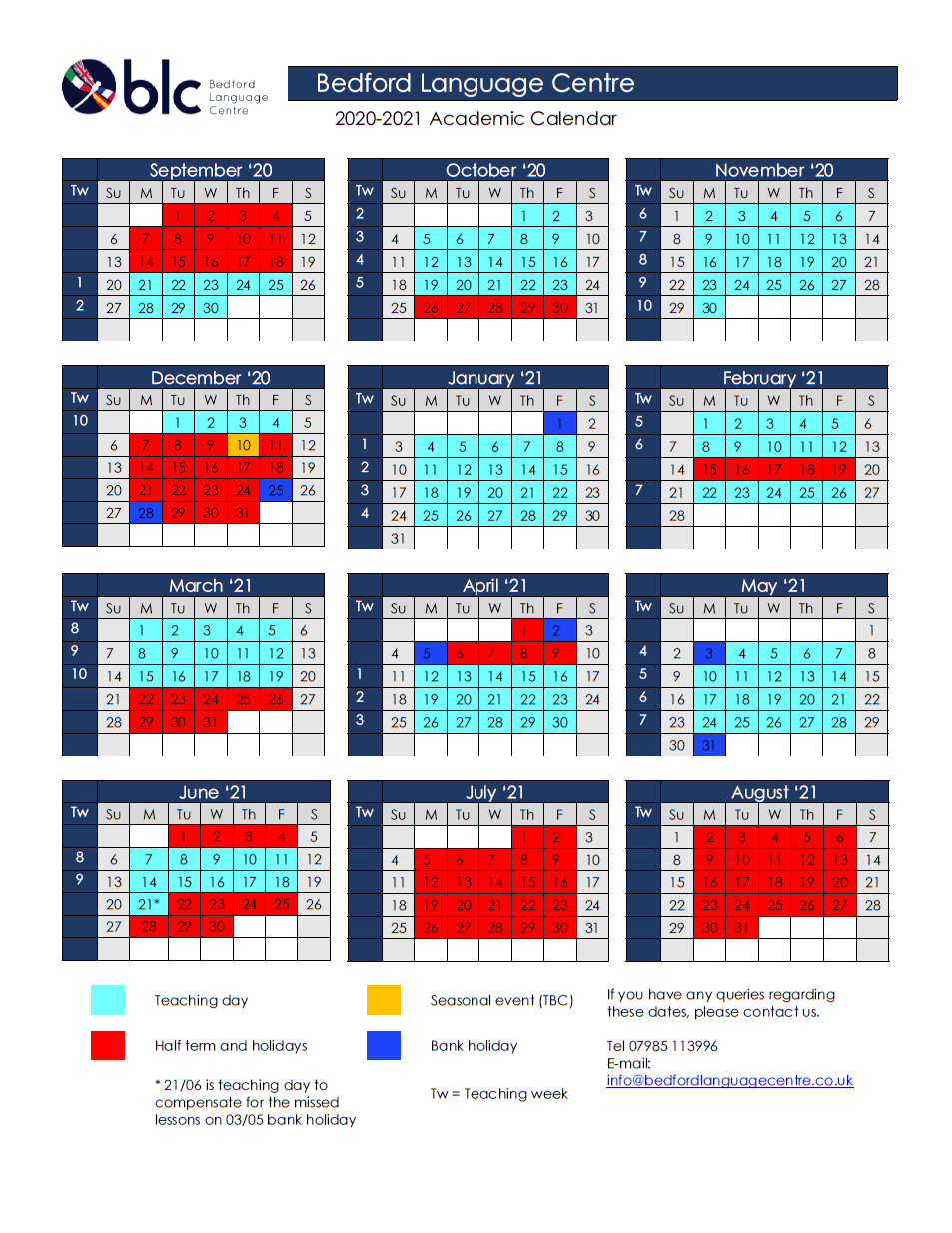 Term Calendar 2020-2021